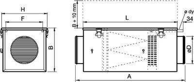 Размеры водяного канального нагревателя для круглых каналов Systemair VBF 100