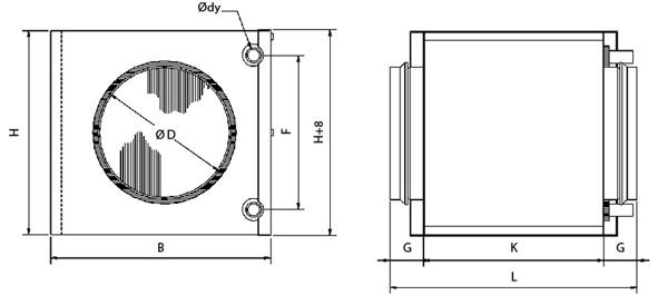 Размеры водяного канального нагревателя для круглых каналов Systemair VBC 100-2