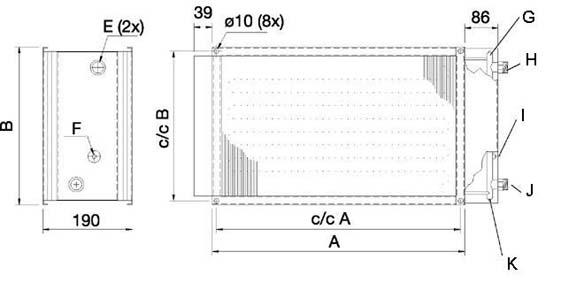 Размеры канального нагревателя для прямоугольных каналов Systemair VBR 40-20-2 Water heating bat
